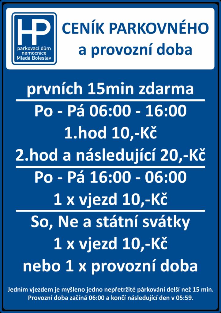 Ceník parkovacího domu