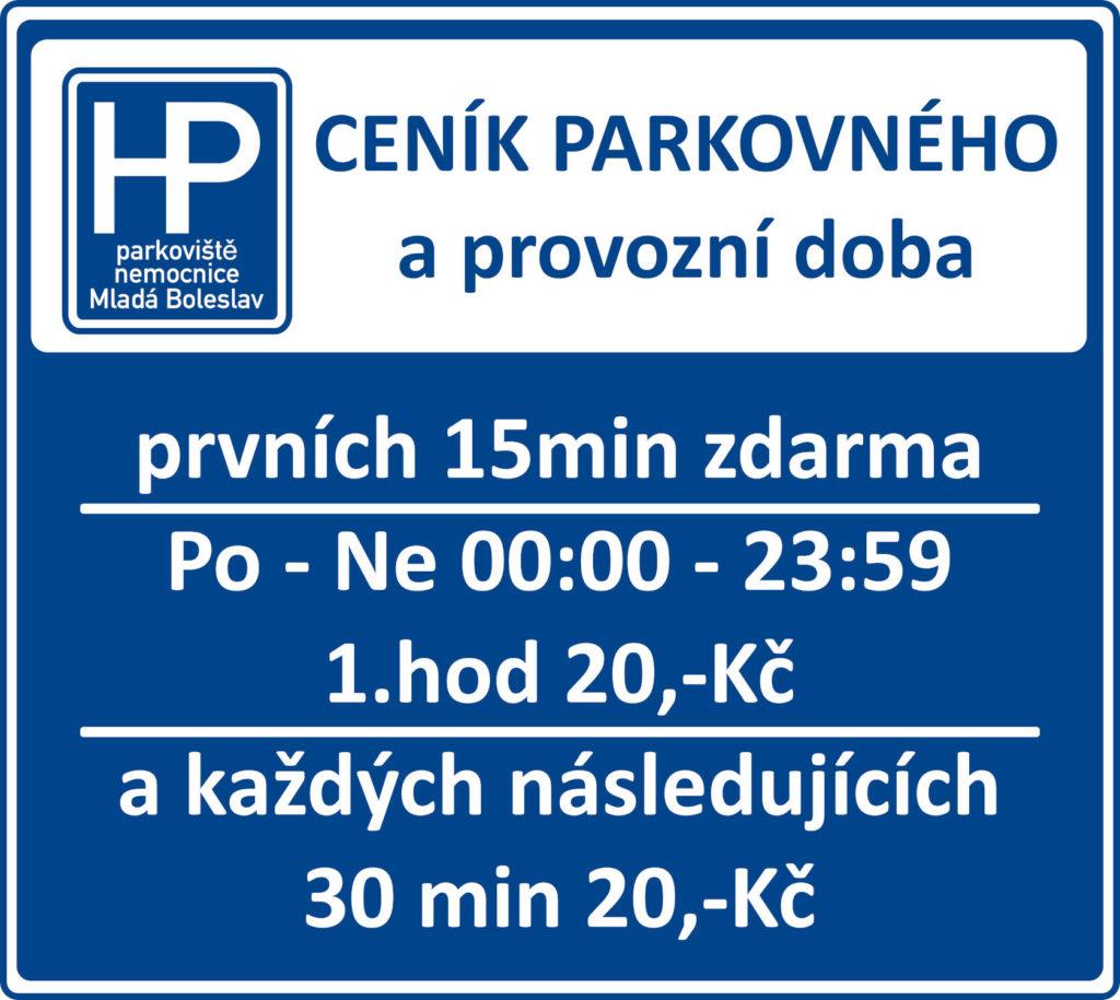 Ceník veřejného parkoviště